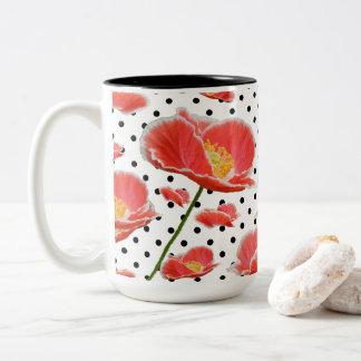 Caneca De Café Em Dois Tons Papoilas e bolinhas vermelhas chiques elegantes