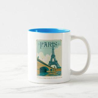Caneca De Café Em Dois Tons Paris France - torre Eiffel