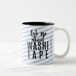 Caneca De Café Em Dois Tons Pergunte-me sobre a fita de Washi - listras azuis