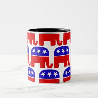 Caneca De Café Em Dois Tons Personalize o elefante republicano