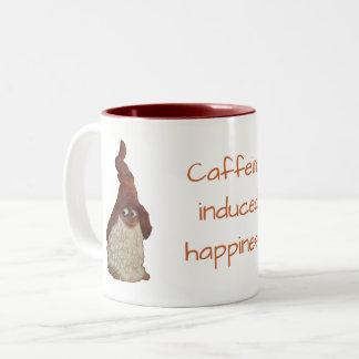 Caneca De Café Em Dois Tons Piada induzida cafeína da felicidade do gnomo