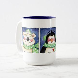 Caneca De Café Em Dois Tons Pinguim e amigos