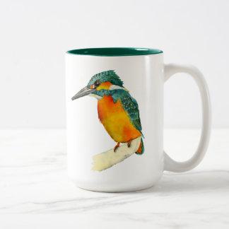 Caneca De Café Em Dois Tons Pintura da aguarela do pássaro do martinho