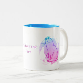 Caneca De Café Em Dois Tons Pintura desarrumado do gato - esboço personalizado