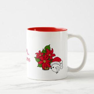 Caneca De Café Em Dois Tons Poinsétias do Natal do pássaro do papai noel