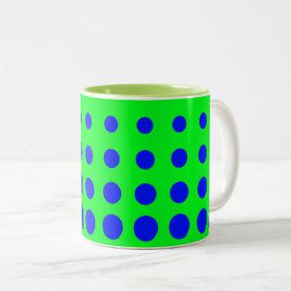 Caneca De Café Em Dois Tons Ponto azul & verde do abstrato do vetor