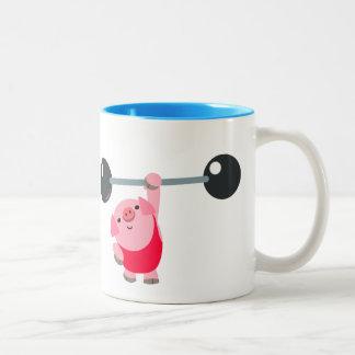 Caneca De Café Em Dois Tons Porco bonito dos desenhos animados do