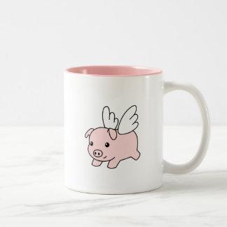 Caneca De Café Em Dois Tons Porco do vôo - leitão com asas