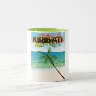 Caneca De Café Em Dois Tons Poster de viagens da ilha de Kiribati