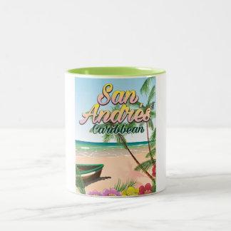 Caneca De Café Em Dois Tons Poster de viagens da ilha de San Andrés