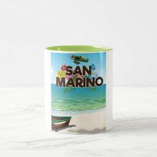 Caneca De Café Em Dois Tons Poster de viagens da praia de San Marino