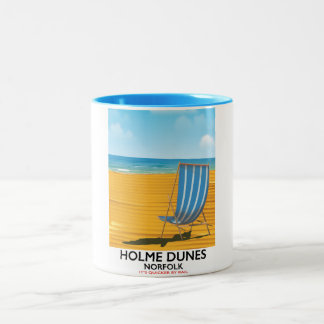 Caneca De Café Em Dois Tons Poster de viagens de Norfolk das dunas de Holme