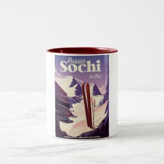 Caneca De Café Em Dois Tons Poster de viagens do esqui de Sochi Rússia