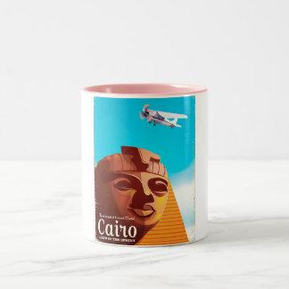 Caneca De Café Em Dois Tons Poster de viagens do estilo do vintage do Cairo
