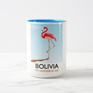 Caneca De Café Em Dois Tons Poster de viagens do flamingo de Bolívia