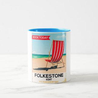 Caneca De Café Em Dois Tons Poster do beira-mar do vintage de Folkestone Kent