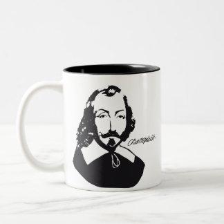Caneca De Café Em Dois Tons Povo Francês Quebeque Samuel Champlain citação