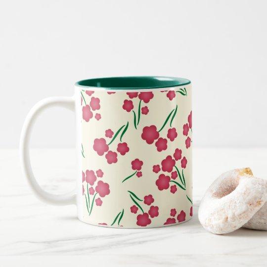 Caneca De Café Em Dois Tons Primavera magenta das flores do rosa da flor da