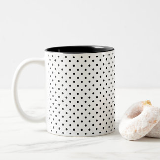 Caneca De Café Em Dois Tons Projete suas próprias bolinhas pretas minúsculas