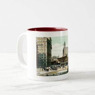 Caneca De Café Em Dois Tons Quadrado de cidade, Brooklyn NY, vintage 1908
