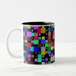 Caneca De Café Em Dois Tons Quadrados de Сolored de todos os tamanhos