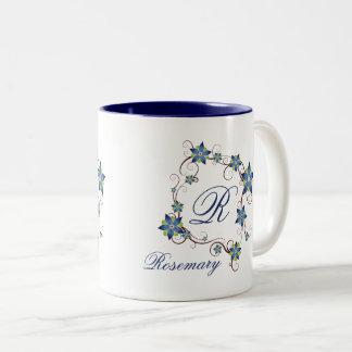 Caneca De Café Em Dois Tons Quadro & monograma azuis da flor