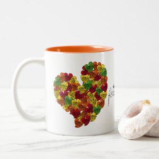Caneca De Café Em Dois Tons Queda em amor-Assinatura-Multi