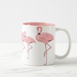 Caneca De Café Em Dois Tons rebanho de flamingos cor-de-rosa