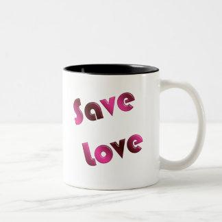 Caneca De Café Em Dois Tons Salvar o amor. texto do inclinação
