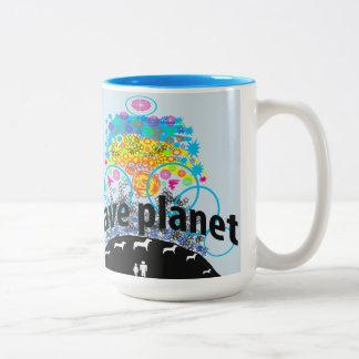 Caneca De Café Em Dois Tons Salvar o planeta