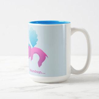 Caneca De Café Em Dois Tons Segundas-feiras Spiffy o dragão