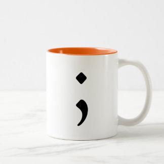 Caneca De Café Em Dois Tons Semicolon