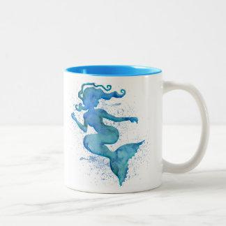 Caneca De Café Em Dois Tons Sereia azul da aguarela