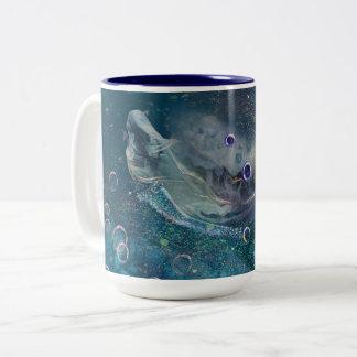 Caneca De Café Em Dois Tons Sereia subaquática da mística do índigo
