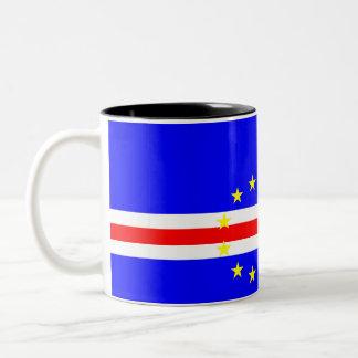 Caneca De Café Em Dois Tons Símbolo da bandeira de país de Cabo Verde por