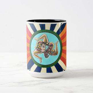 Caneca De Café Em Dois Tons Símbolo de Trinacria do la de Sicilia de Sicília