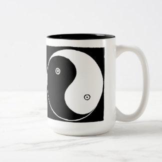 Caneca De Café Em Dois Tons Símbolo de Yin Yang do chinês