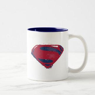 Caneca De Café Em Dois Tons Símbolo do superman da escova & da reticulação da