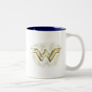 Caneca De Café Em Dois Tons Símbolo escovado mulher maravilha do ouro