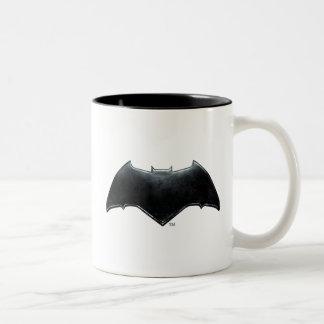 Caneca De Café Em Dois Tons Símbolo metálico da liga de justiça | Batman