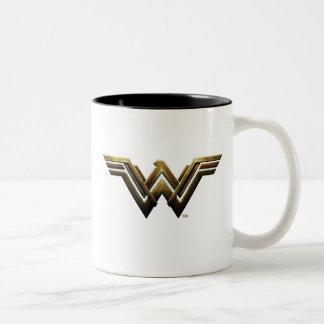 Caneca De Café Em Dois Tons Símbolo metálico da mulher maravilha da liga de