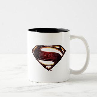 Caneca De Café Em Dois Tons Símbolo metálico do superman da liga de justiça |