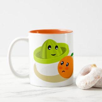 Caneca De Café Em Dois Tons Sumo de laranja (laranja e Squeezer)