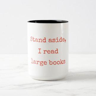 Caneca De Café Em Dois Tons Suporte de lado, eu li grandes livros