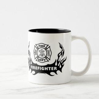Caneca De Café Em Dois Tons Tatuagem do sapador-bombeiro