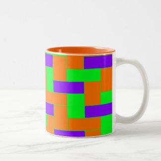 Caneca De Café Em Dois Tons Teste padrão colorido sem emenda de oblongo