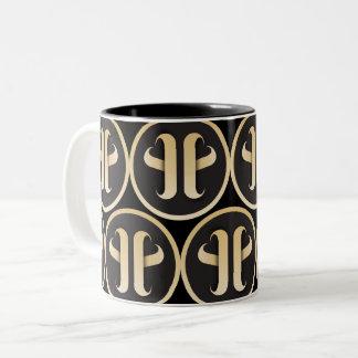 Caneca De Café Em Dois Tons Teste padrão do monograma