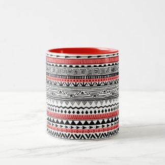 Caneca De Café Em Dois Tons Teste padrão do sudoeste preto e branco vermelho