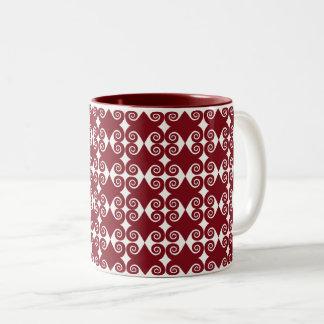 Caneca De Café Em Dois Tons Teste padrão encaracolado do diamante