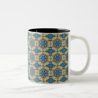 Caneca De Café Em Dois Tons Teste padrão floral étnico abstrato colorido de da